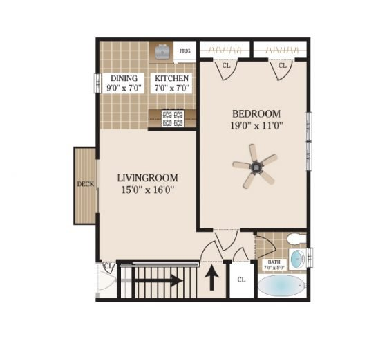 1 Bedroom 1 Bathroom. 770 sq. ft.