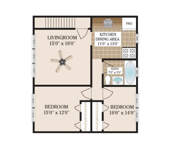 2 Bedroom 1 Bathroom. 850 sq. ft.